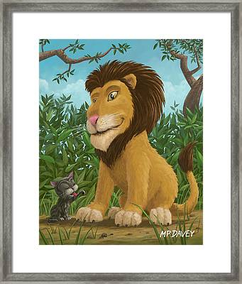 Big Lion Small Cat Framed Print