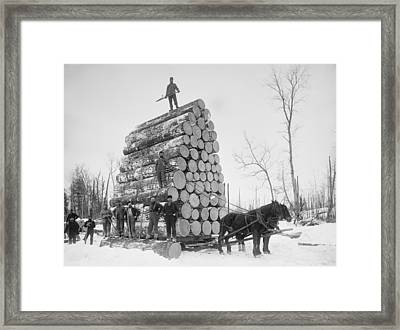Big Load Of Logs On A Horse Drawn Sled Framed Print by Everett