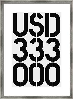 Big Money Usd 333 000 Framed Print by Three Dots