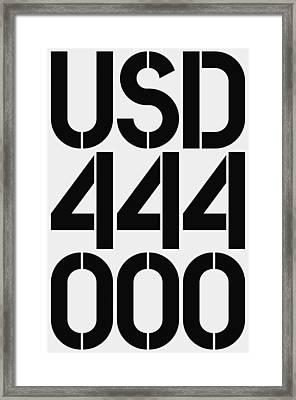 Big Money Usd 444 000 Framed Print by Three Dots