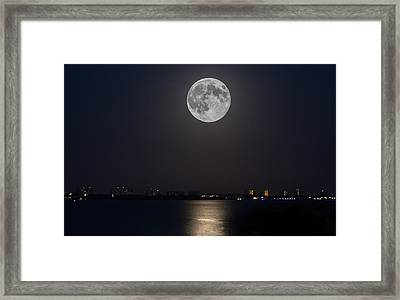 Big Moon Over The Bay Framed Print