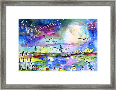 Framed Print featuring the painting Big Moon Wetland Magic by Ginette Callaway