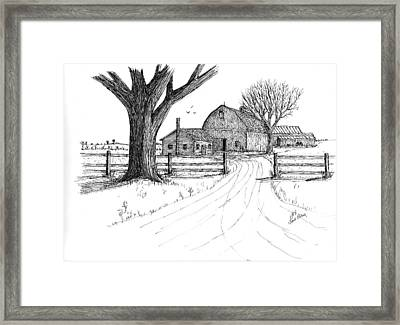 Framed Print featuring the drawing Big Oak Dairy Farm by Jack G  Brauer