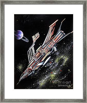Big, Old Space Shuttle Of Dead Civilization Framed Print by Sofia Metal Queen