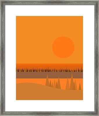 Framed Print featuring the digital art Big Orange Sun by Val Arie