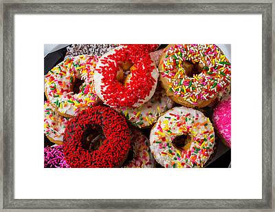 Big Pile Of Donuts Framed Print by Garry Gay