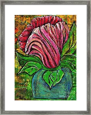 Big Pink Flower Framed Print by Sarah Loft