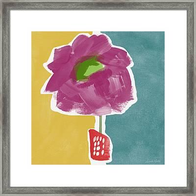 Big Purple Flower In A Small Vase- Art By Linda Woods Framed Print by Linda Woods