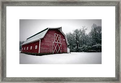 Big Red Barn In Snow Framed Print