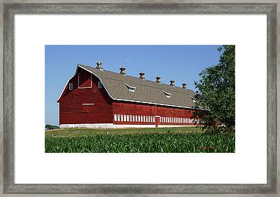 Big Red Barn In Spring Framed Print by Edward Peterson