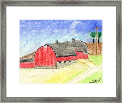 Big Red Barn Framed Print by John Hoppy Hopkins