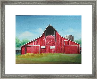 Framed Print featuring the painting Big Red Barn by Oz Freedgood