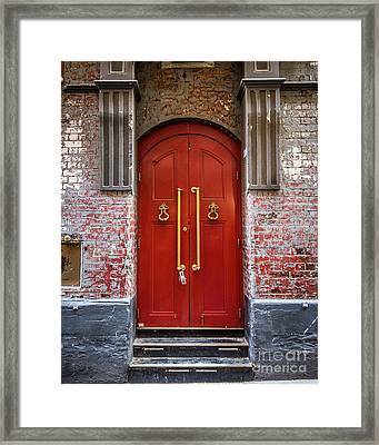 Framed Print featuring the photograph Big Red Doors by Perry Webster