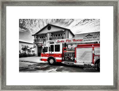 Framed Print featuring the photograph Big Red Fire Truck by Mel Steinhauer
