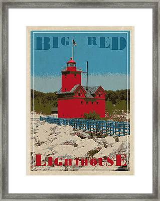 Big Red From The Pier Framed Print by Michelle Calkins
