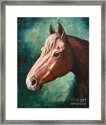 Big Red Snip    Horse Painting Framed Print by JoAnne Corpany