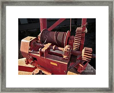 Framed Print featuring the photograph Big Red Winch by Stephen Mitchell