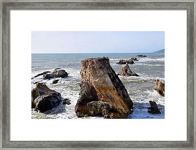 Framed Print featuring the photograph Big Rocks In Grey Water by Barbara Snyder