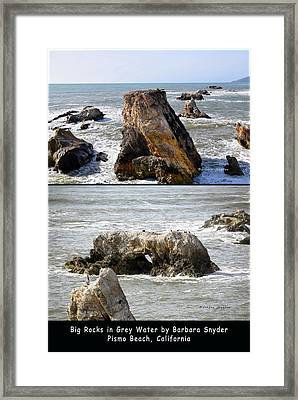 Framed Print featuring the photograph Big Rocks In Grey Water Duo by Barbara Snyder