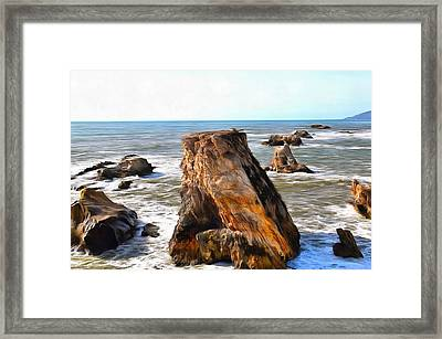 Framed Print featuring the photograph Big Rocks In Grey Water Painting by Barbara Snyder