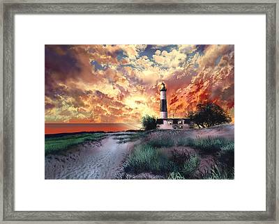 Big Sable Lighthouse Framed Print by Bekim Art