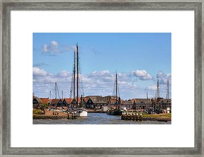 Big Sail Ship In The Harbour Of Marken, Holland Framed Print by Sergey Pro