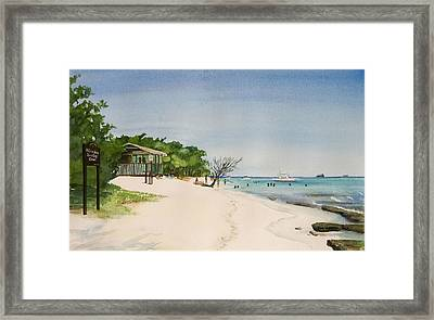 Big Sand At Lime Cay Framed Print by Anji Worton