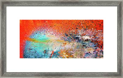 Big Shot - Orange And Blue Colorful Happy Abstract Art Painting Framed Print