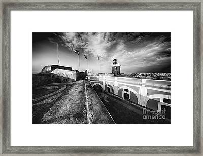 Big Sky Over The El Morro Lighthouse And Fort Courtyard Framed Print