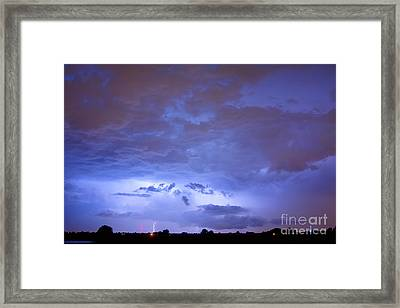 Big Sky With Small Lightning Strikes In The Distance Framed Print