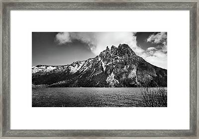 Big Snowy Mountain In Black And White Framed Print