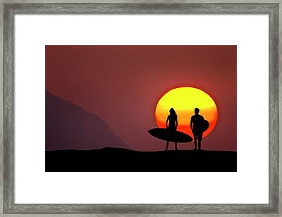 Big Sun Surfers Framed Print by Sean Davey