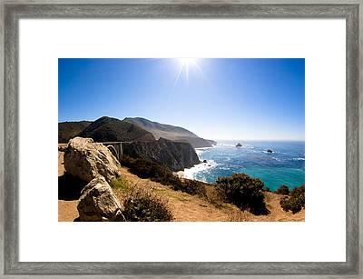 Big Sur And Bixby Bridge Califonia Framed Print by Lorraine Kourafas