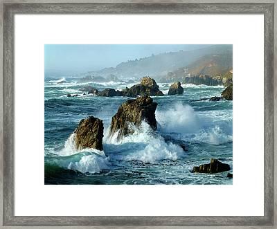 Big Sur Winter Wave Action Framed Print