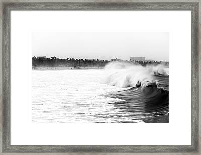 Big Surf At Santa Monica Framed Print by John Rizzuto