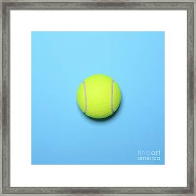 Big Tennis Ball On Blue Background - Trendy Minimal Design Top V Framed Print by Aleksandar Mijatovic