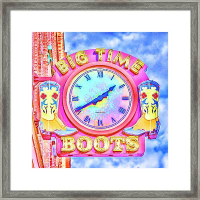 Big Time Boots - Nashville Hot Pink Framed Print by Stephen Stookey
