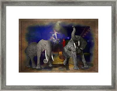 Big Top Elephants Textured Framed Print by Thomas Woolworth