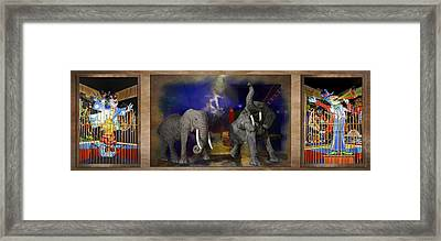 Big Top Elephants Textured Triptych 3 Panel Framed Print by Thomas Woolworth