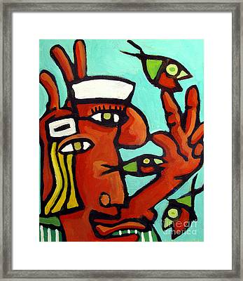 Big Topfish Juggling Duet Framed Print by Charlie Spear