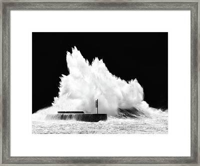 Big Wave Breaking On Breakwater Framed Print