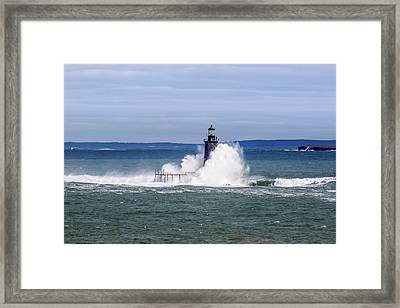 Big Wave Hits Ram Island Ledge Light Framed Print