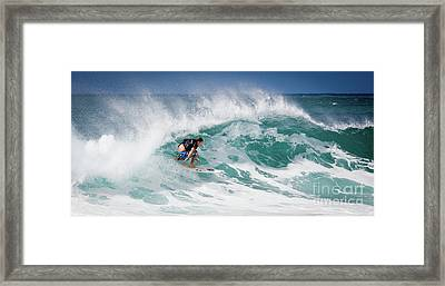 Big Wave Surfer At La Perouse Bay Maui Framed Print by Denis Dore