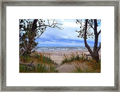 Big Waves On Lake Michigan 2.0 Framed Print by Michelle Calkins