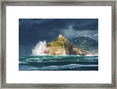 Big Waves Over San Juan De Gaztelugatxe Framed Print