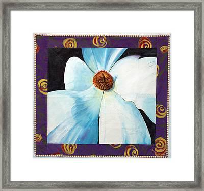Big White Flower Framed Print by Grace Matthews