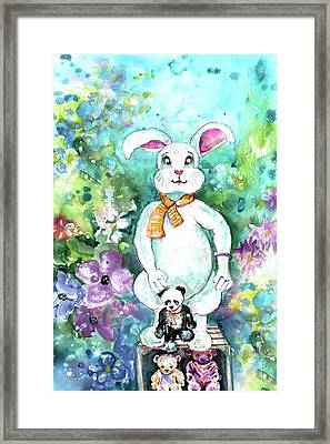 Big White Rabbit And Teddy Bears In A Flower Shop Framed Print