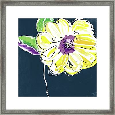 Big Yellow Flower- Art By Linda Woods Framed Print by Linda Woods