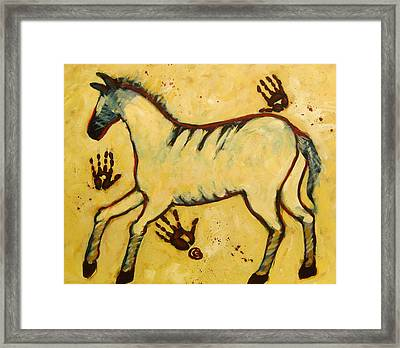 Big Yellow Lascaux Horse Framed Print