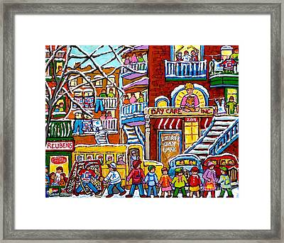 Big Yellow School Bus Teddy Bear Daycare Montreal Street Hockey Kids Winter Art Scene Carole Spandau Framed Print